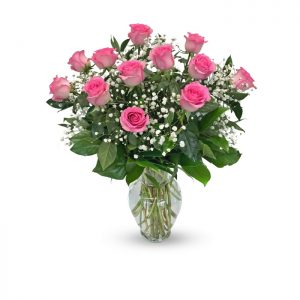 dozen pink roses in vase with baby's breath