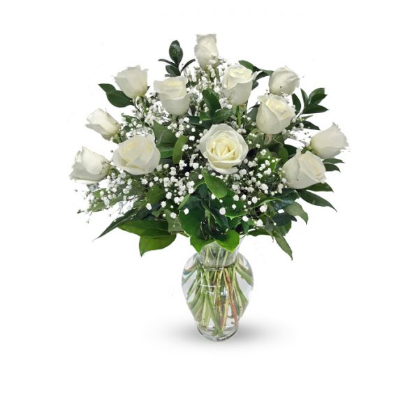 dozen white roses in vase with baby's breath