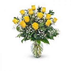 dozen yellow roses in vase with baby's breath